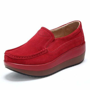 Womens Shoes Ballet Cow Suede Leather Moccasins Shoe - Red / 3 - Womens shoes