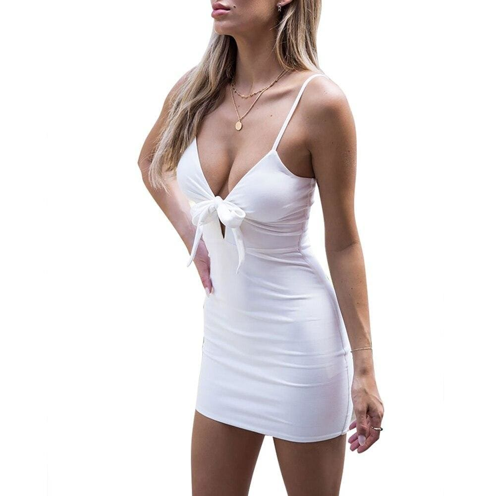 Buy Cheap Women's Sleeveless Slip Strap Front Bow-knot Dress Sexy Party Dress Online - Hplify