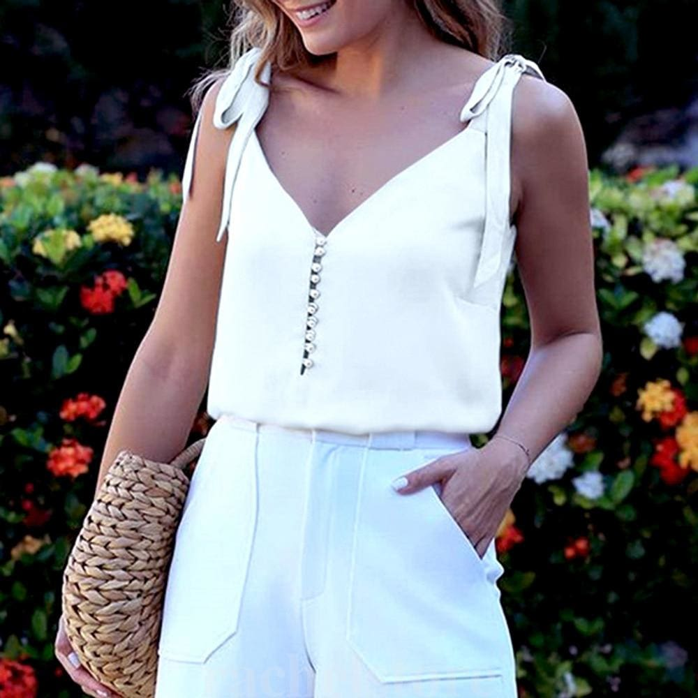 Womens Sleeveless Tank Tops Vest Ladies Summer Casual Loose Cami Shirt Blouse - White / S - Tops
