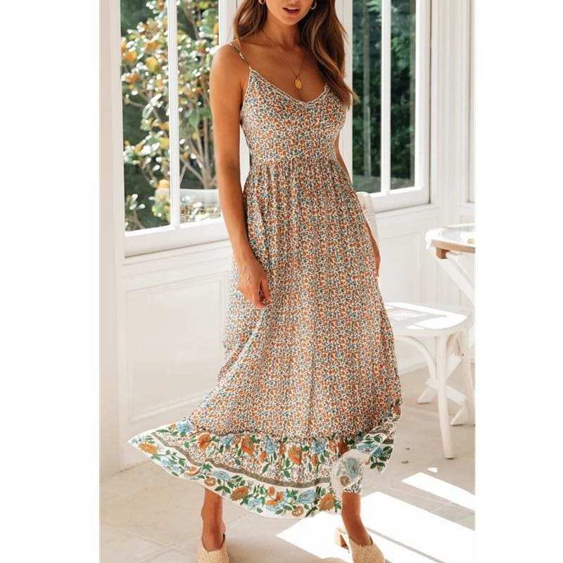 Womens Sling Floral Long Dresses Summer Boho V-Neck Sleeveless Holiday Party Beach Maxi Dress - Dresses
