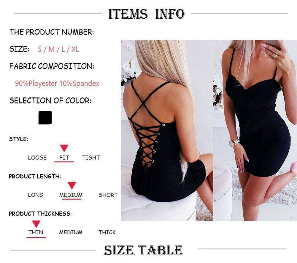 The Best Women's Strappy Dress Stretchy Package Hip Bodycon Mini Dress Online - Source Silk