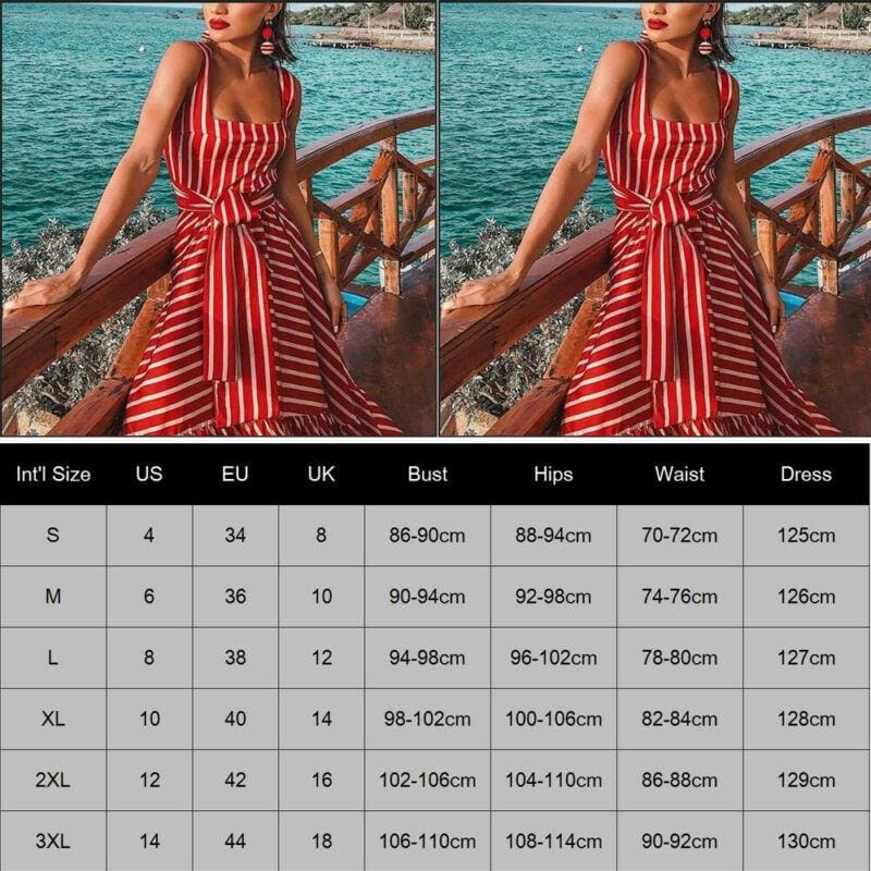 The Best Women's Strappy Striped Long Boho Dress Ladies Casual Beach Holiday Maxi Dress Online - Hplify