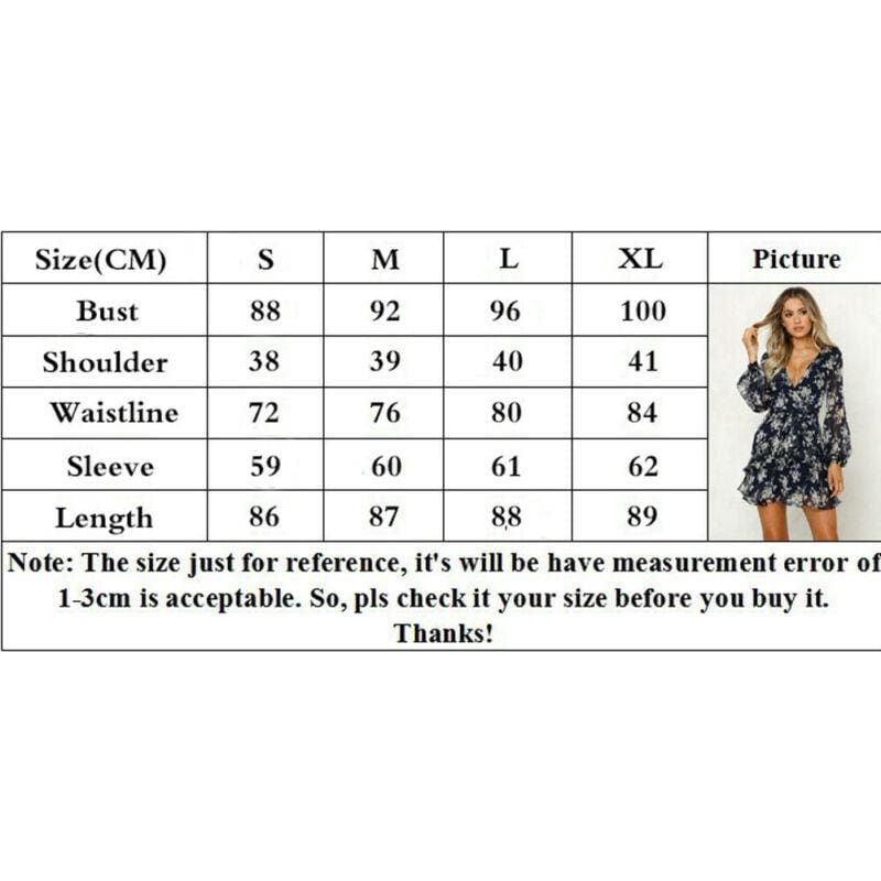 The Best Women's Summer Boho Floral Short Mini Dress Ladies Long Sleeve V Neck Holiday Party Beach Dress Sundress Online - Hplify