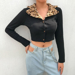 The Best Women's Summer Leopard Collar Jacket Cardigan Tops Ladies Holiday Sexy Loose Blouse Shirt Streetwear Online - Hplify