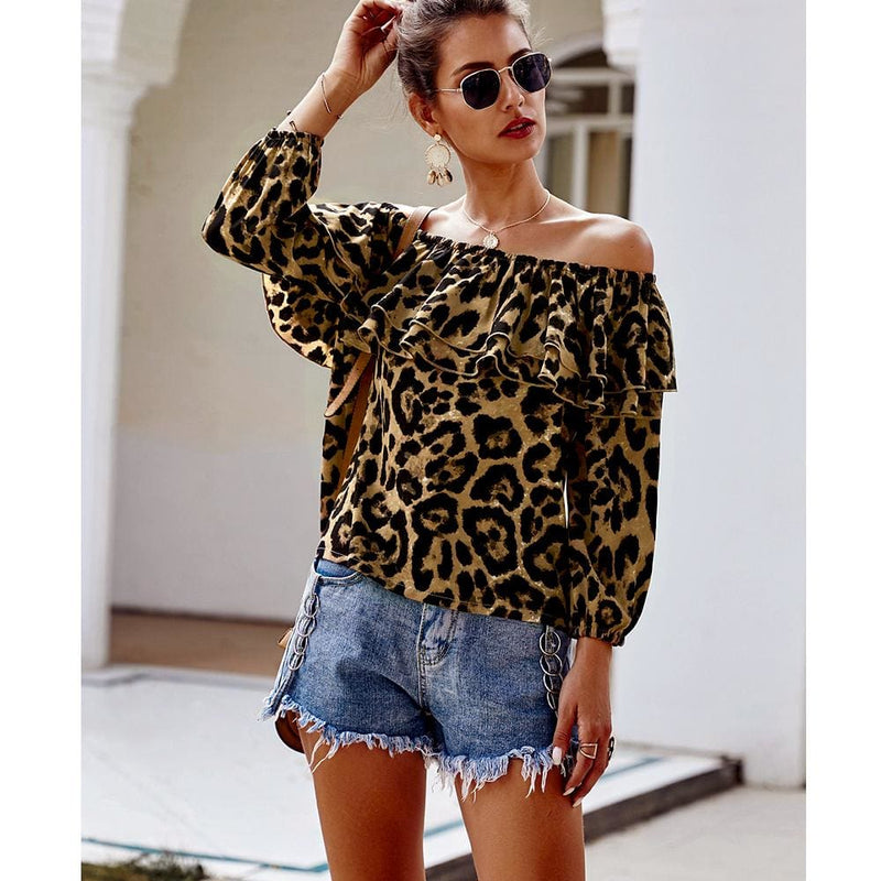 The Best Womens Tops And Blouses Summer Long Sleeve Off Shoulder Ruffles Shirt Blusas Woman Fashion Ladies Tops Leopard Print Tops Online - Hplify