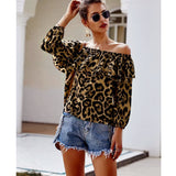 The Best Womens Tops And Blouses Summer Long Sleeve Off Shoulder Ruffles Shirt Blusas Woman Fashion Ladies Tops Leopard Print Tops Online - Source Silk