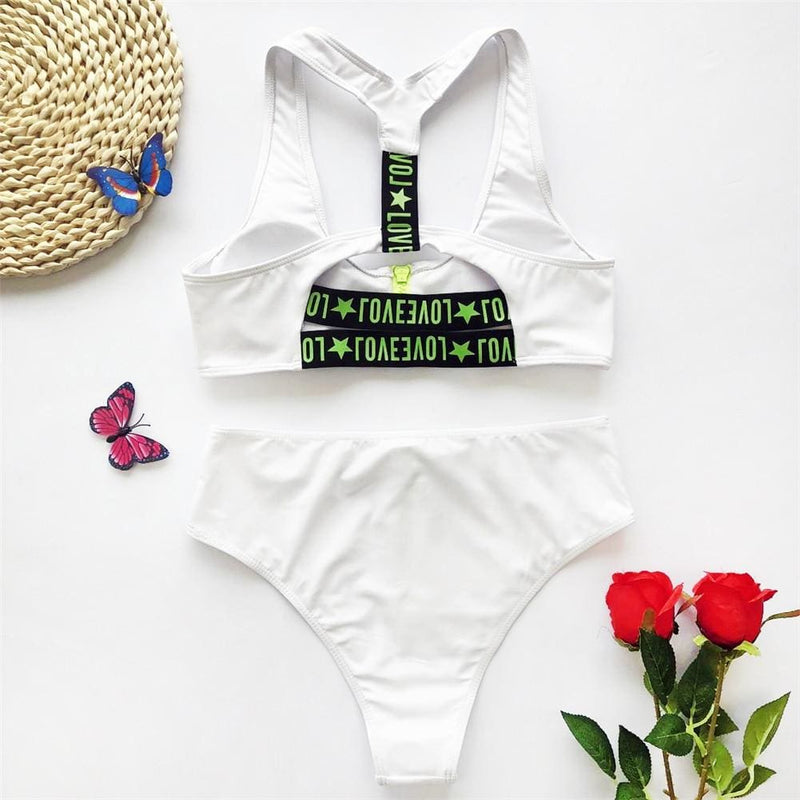 The Best Zipper Fly High Waist Bikini Set Women Swimwear 2020 Love Printed Striped Push Up Swimming Suit Padded Bathing Sui Online - Hplify