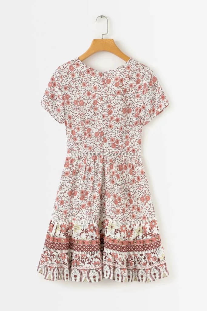 A-Line Bohemian Floral Dress Sexy V-neck Short Sleeve Mini Dress