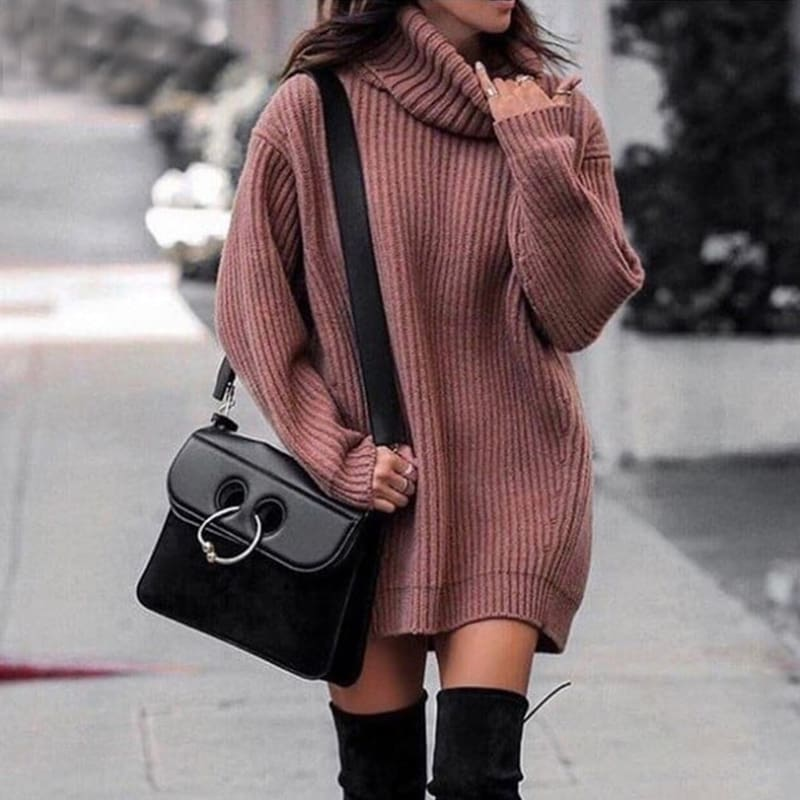 Plus Size Autumn Winter High Collar Lady Loose Long section Sweater