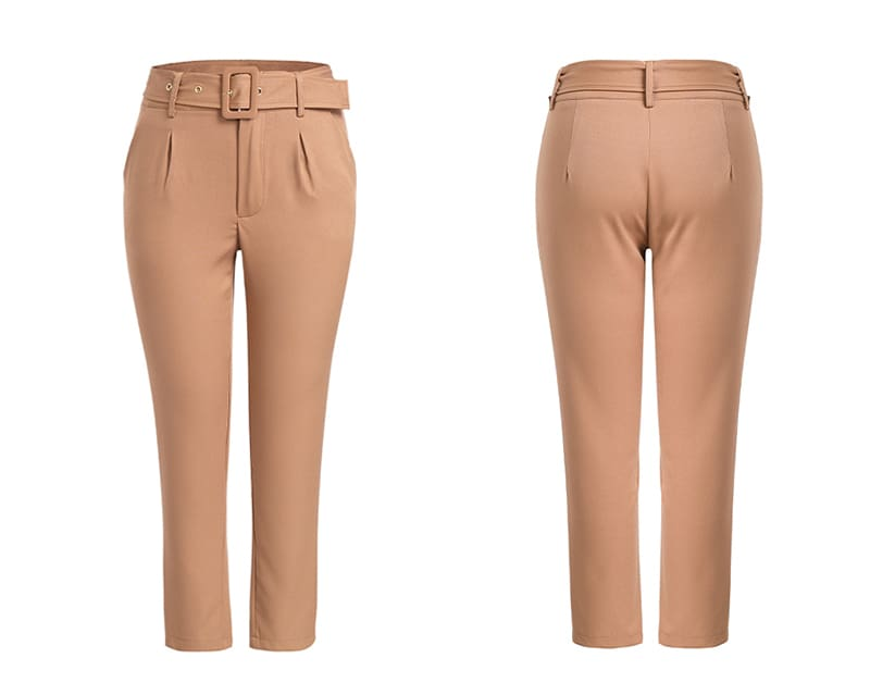 Buckle belt trousers women pants loose work high waist suit pants
