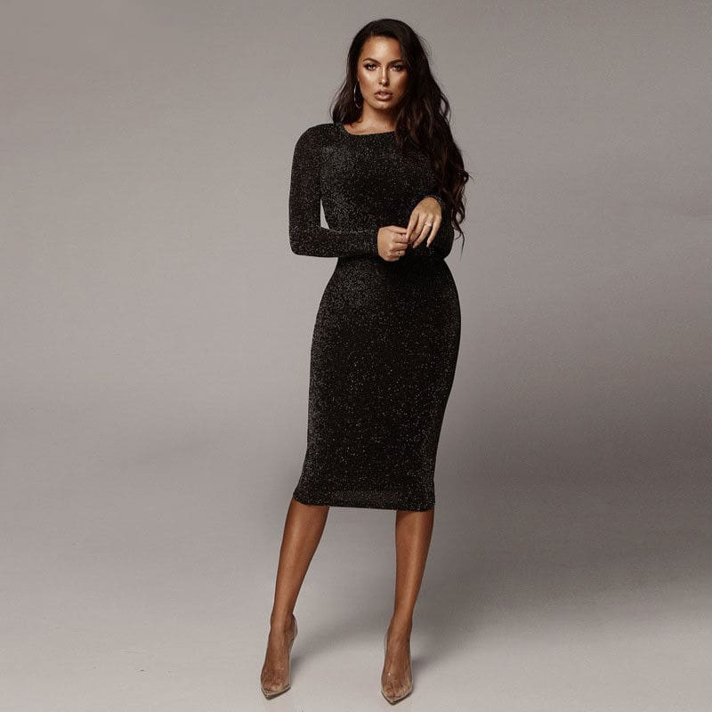 Womens Bandage Shiny Long Sleeve Evening Party Dress Pencil Dresses