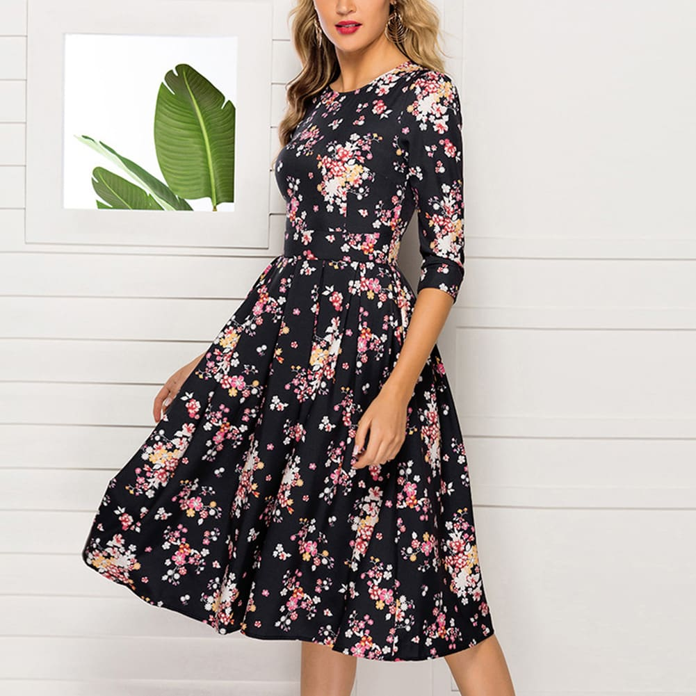 Floral Print Sundress Lady Half Sleeve Fit and Flare Party Dress Sundress Plus Size