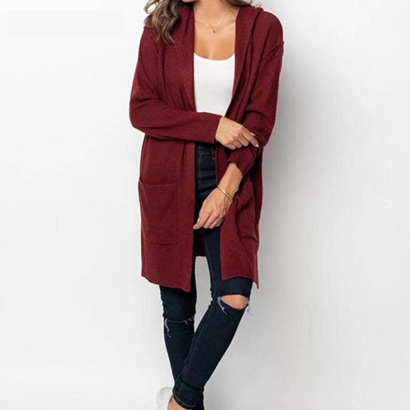 Women Long Hooded Cardigan Autumn Pockets Long Women Sweater Cardigan