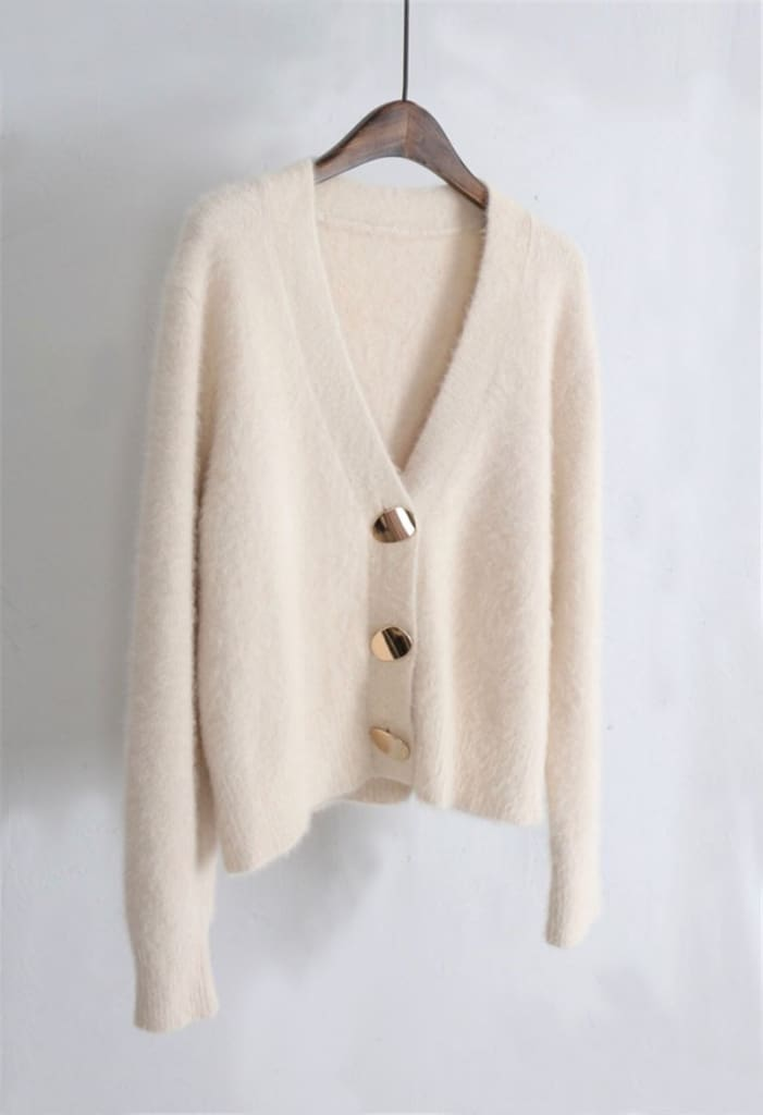 V-neck Women Sweaters Autumn Winter Single-breasted Cardigans Female