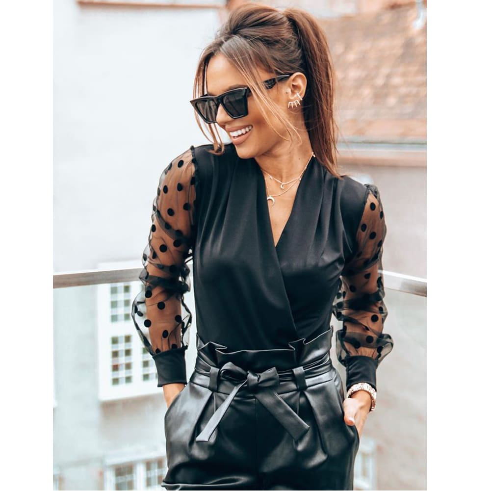 Women Blouse Shirt V Neck Mesh Puff Long Sleeve Loose Tee