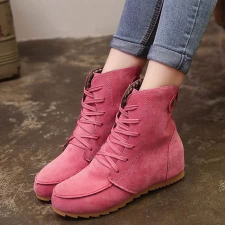 Round Toe Women Ankle Lace-Up Boots