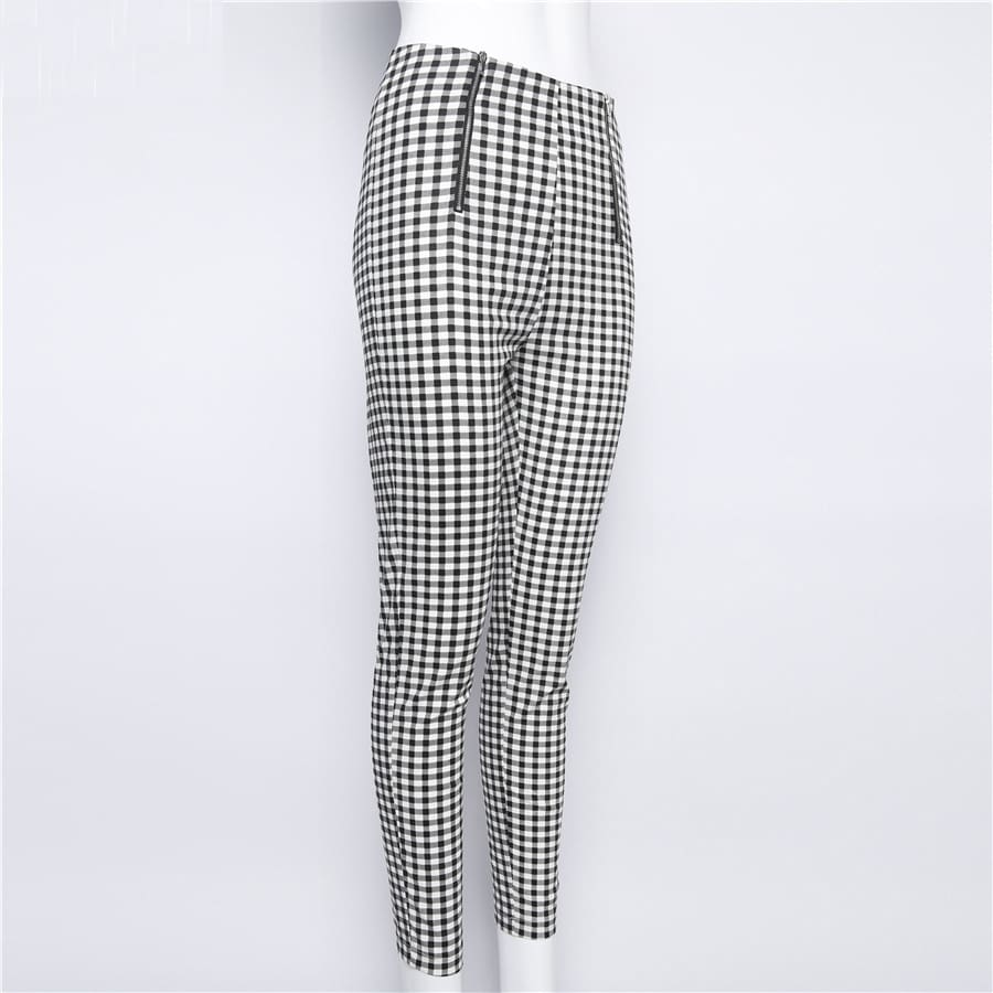 Cotton Comfortable Women Plaid Pants Side Stripe Casual Elastic Pants