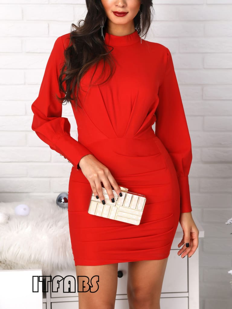 Women Open Back Bodycon Mini Dress Casual Ruched Long Sleeve Bodycon Slim Evening Party Dress