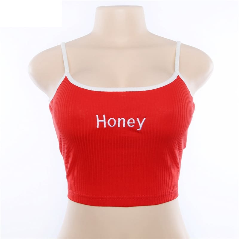 Cool Girls Honey Embroidery Women Fashion Sleeveless Basic Tank Top
