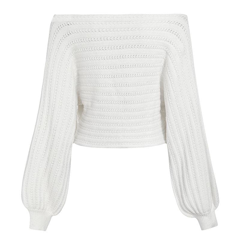 Simple off shoulder knitting pullover Lantern long sleeve women sweater