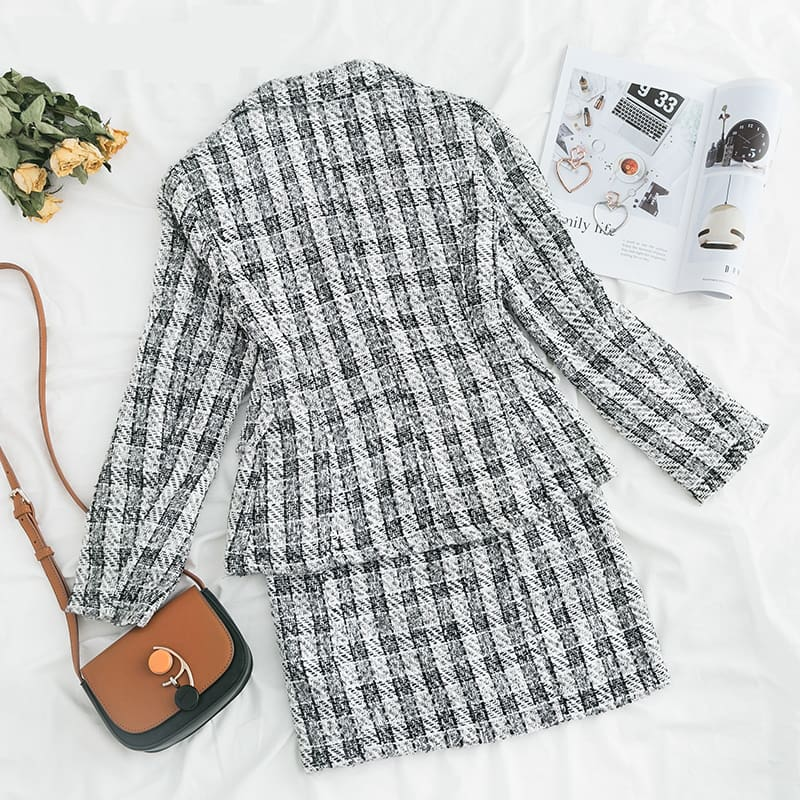 Two-piece plaid tweed women blazer suit Casual streetwear suits