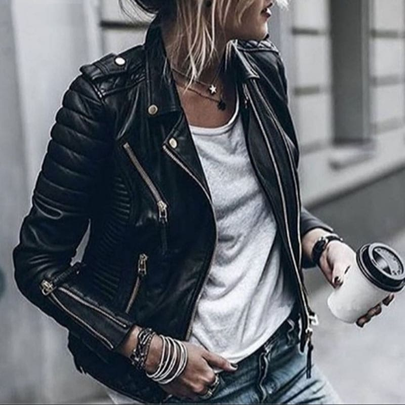 Lozenge Leather Jacket for Women Rivet Punk Moto Coat Faux Jacket