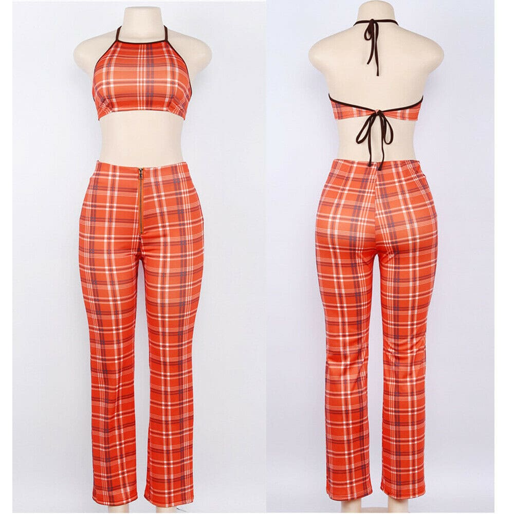 Plus Size Ladies Summer Plaid Clothes Set Fashion Women Sleeveless Holiday Crop Tops+Long Pants 2Pcs Loose Beach Outfit S-2XL