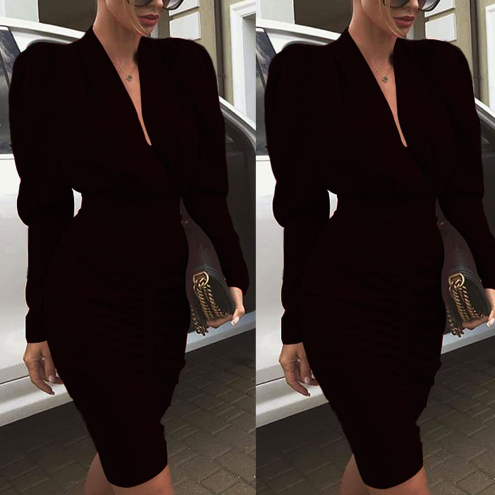 Elegant Womens Long Sleeve V Neck Bodycon Dress OL Ladies Evening Party Office Workout Mini Dress