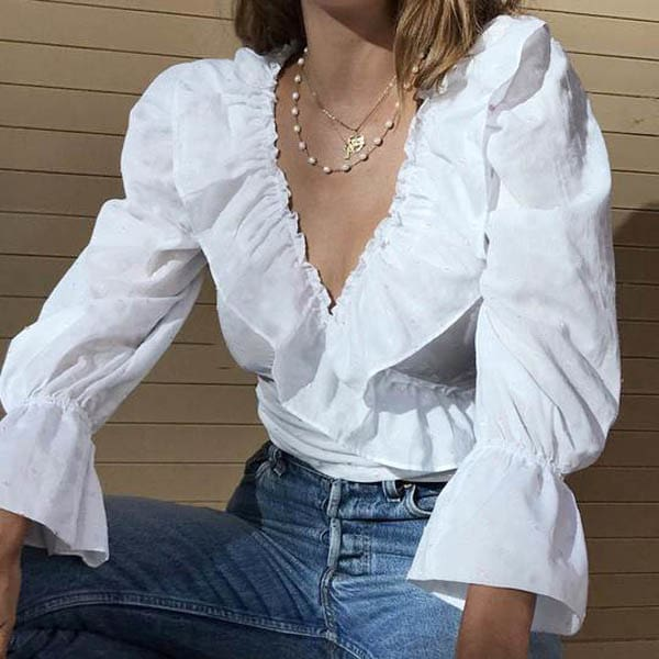 Autumn Women Ruffle V-Neck Crop Top Ladies Casual Holiday Long Puff Sleeve Blouse Shirt Fashion Solid Tops