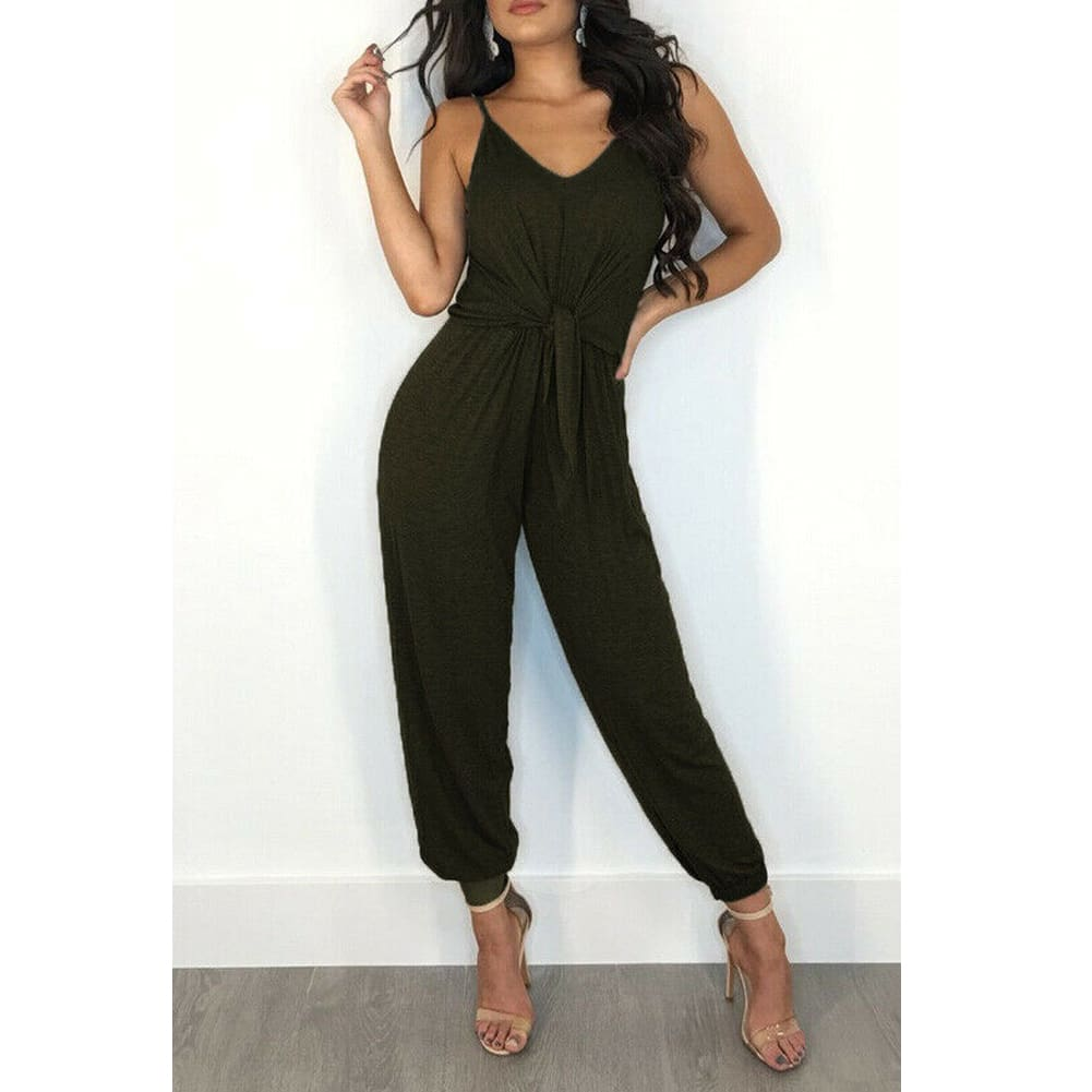 Womens Casual Sleeveless Jumpsuit Slim Summer Fashion Solid Front Bow Slim Fit Long Pant Trousers Jumpsuit Bodysuit
