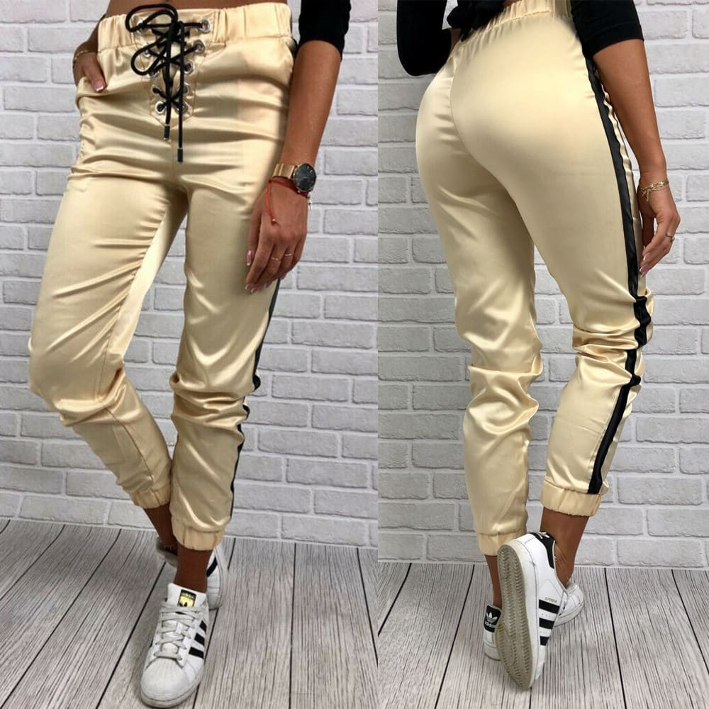 Women Casual Pants Elastic Waist Jogger Skinny Trousers Side Pockets Sweatpants