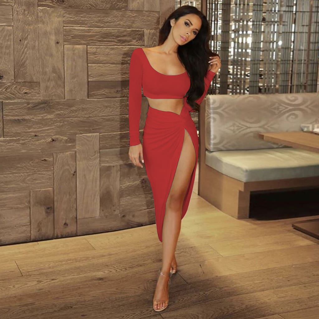 Summer Sexy Two Piece Set Long Sleeve Crop Top Bodycon Long Wrap Skirt