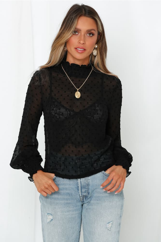 Women Blouse Shirt High Neck Polka Dot Mesh Sheer See-Through Long Sleeve Tops Tee Shirt