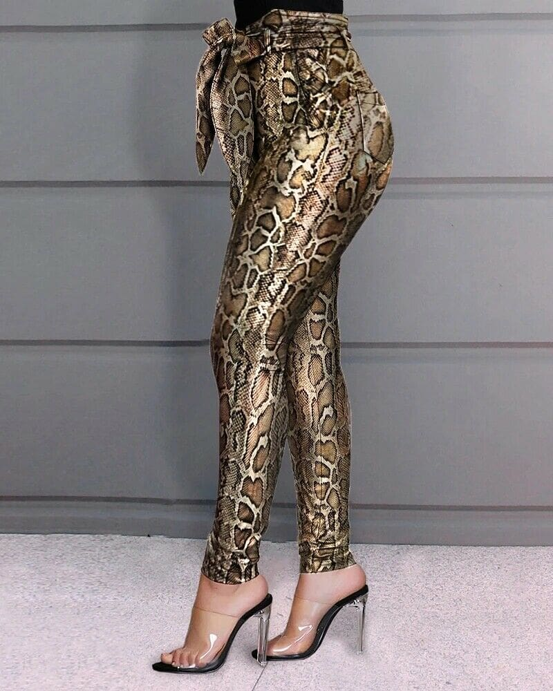 Women PU Leather Pants Women Trousers Push Up High Waist Skinny Pants Pencil Spring Snake Skin Sexy Pants