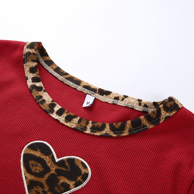 Fashion Women Leopard Heart Print Slim Red Crop Top Ladies Casual Short Sleeve Summer Sexy Fitting Tops New T-shirts
