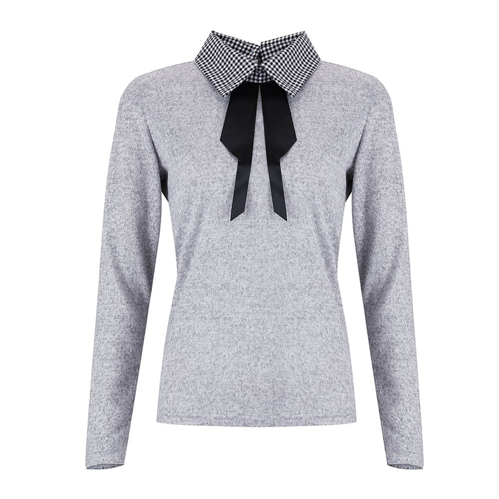 Elegant Office Ladies Lapel Blouse Shirt Autumn Women Long Sleeve Slim Fit Bowknot Stretch Office Solid Shirts