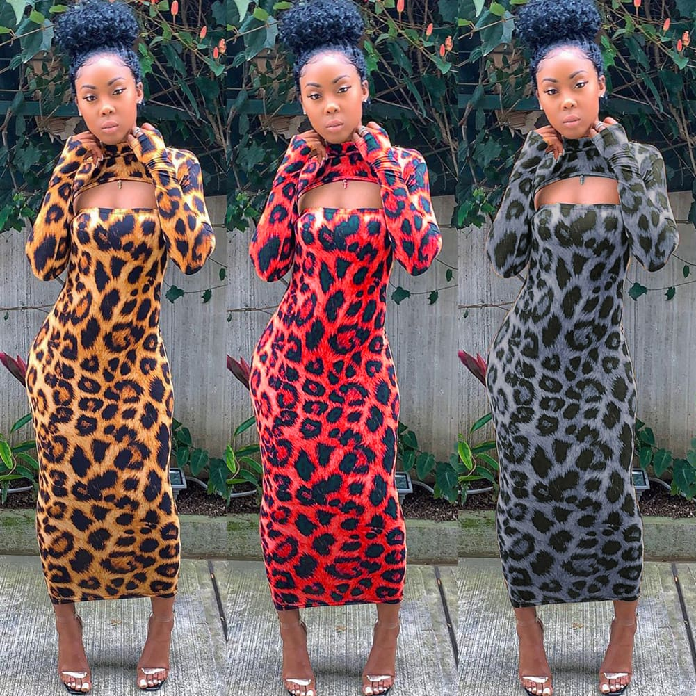 Women Long Sleeve Leopard Bodycon Dress Autumn Ladies Evening Party Clubwear Slim Long Sexy Dress