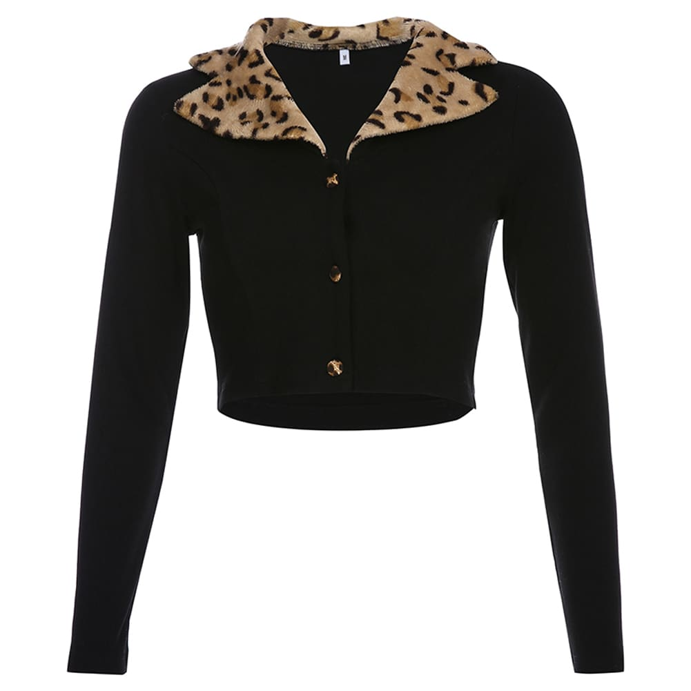 Womens Summer Leopard Collar Jacket Cardigan Tops Ladies Holiday Sexy Loose Blouse Shirt Streetwear