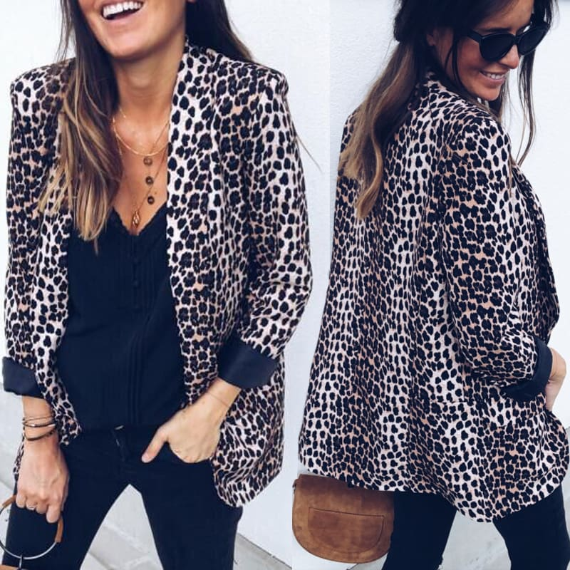 Women Blazers and Jackets Work Office Lady Leopard Suit Slim with Pockets Business female blazer Coat