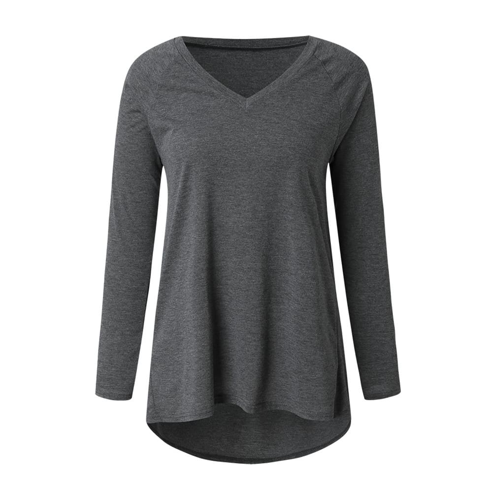 Autumn Women Ladies Tee Shirt Loose Blouse V-neck Shirt Long Sleeve Casual Jumper Pullover Tops Plus Size L-5XL
