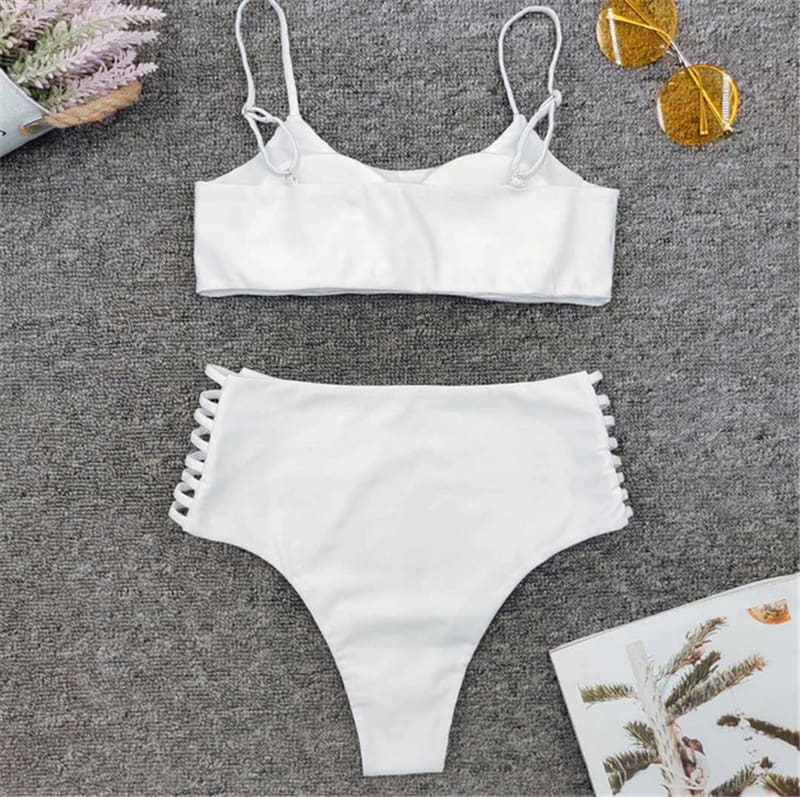 Two-Pieces Summer Womens Bikini Set Push-Up Padded Bra High Waist Swimwear