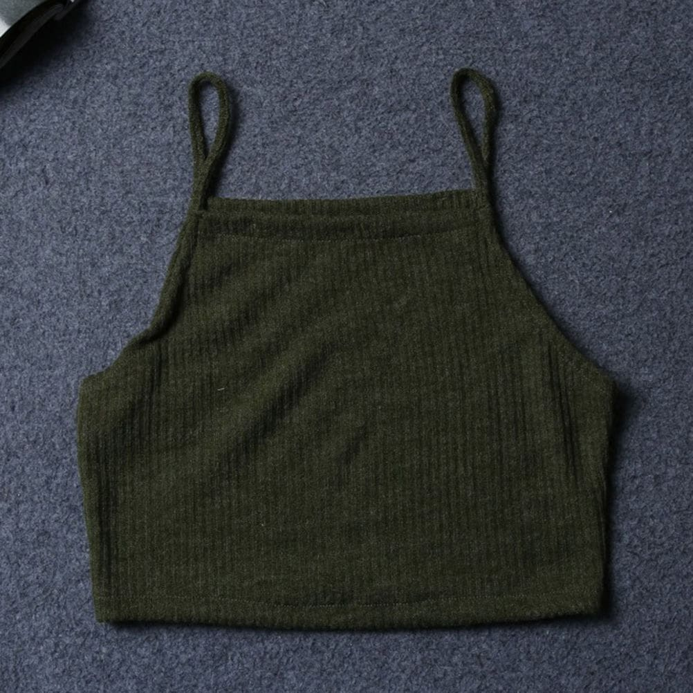 Women Summer Sleeveless Spaghetti Strap Knitted Short Tank Vest Tops Bodycon Casual Solid Crop Tops Tank Tops