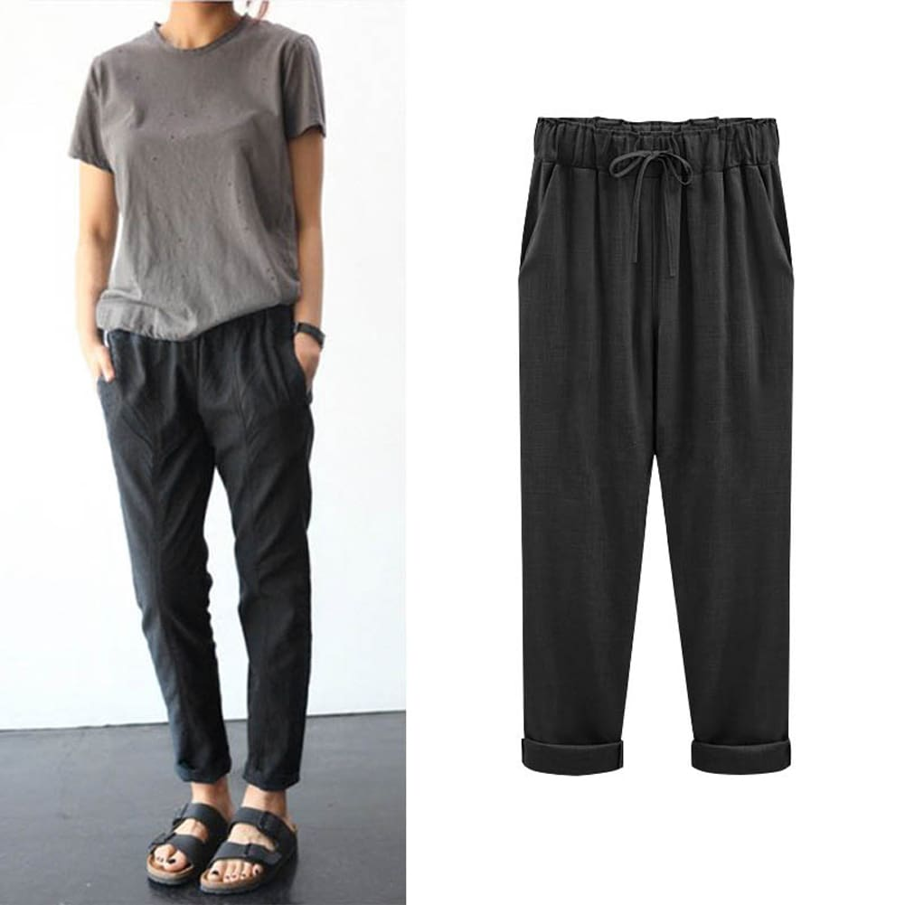 Comfy Harem Pants Women Loose Casual Elastic High Waist Summer Beach Outdoor Drawstring Loose Baggy Trousers Plus Size