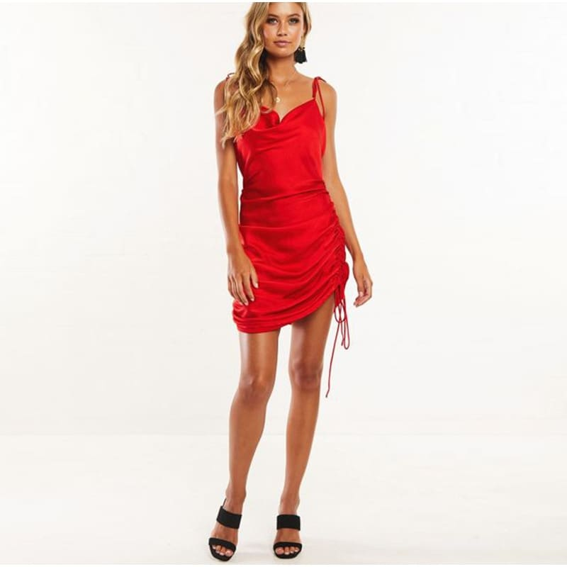 Women Cowl Neck Backless Party Dress Sides Lace Ruched Dress Mini