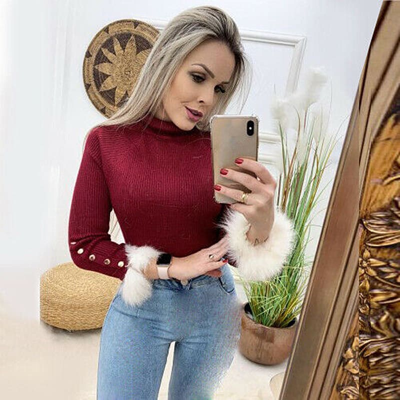 Fashion Women Blouse Long Sleeve High Collar Knitted Sweater Jumper Autumn Winter Warm Knitwear Blouse Shirt