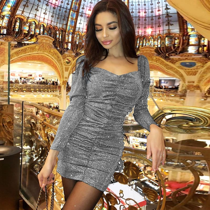 Women Glitter Square Neck Ruched Bodycon Dress Off Shoulder Sparkling Cocktail Party Club Evening Mini Dress