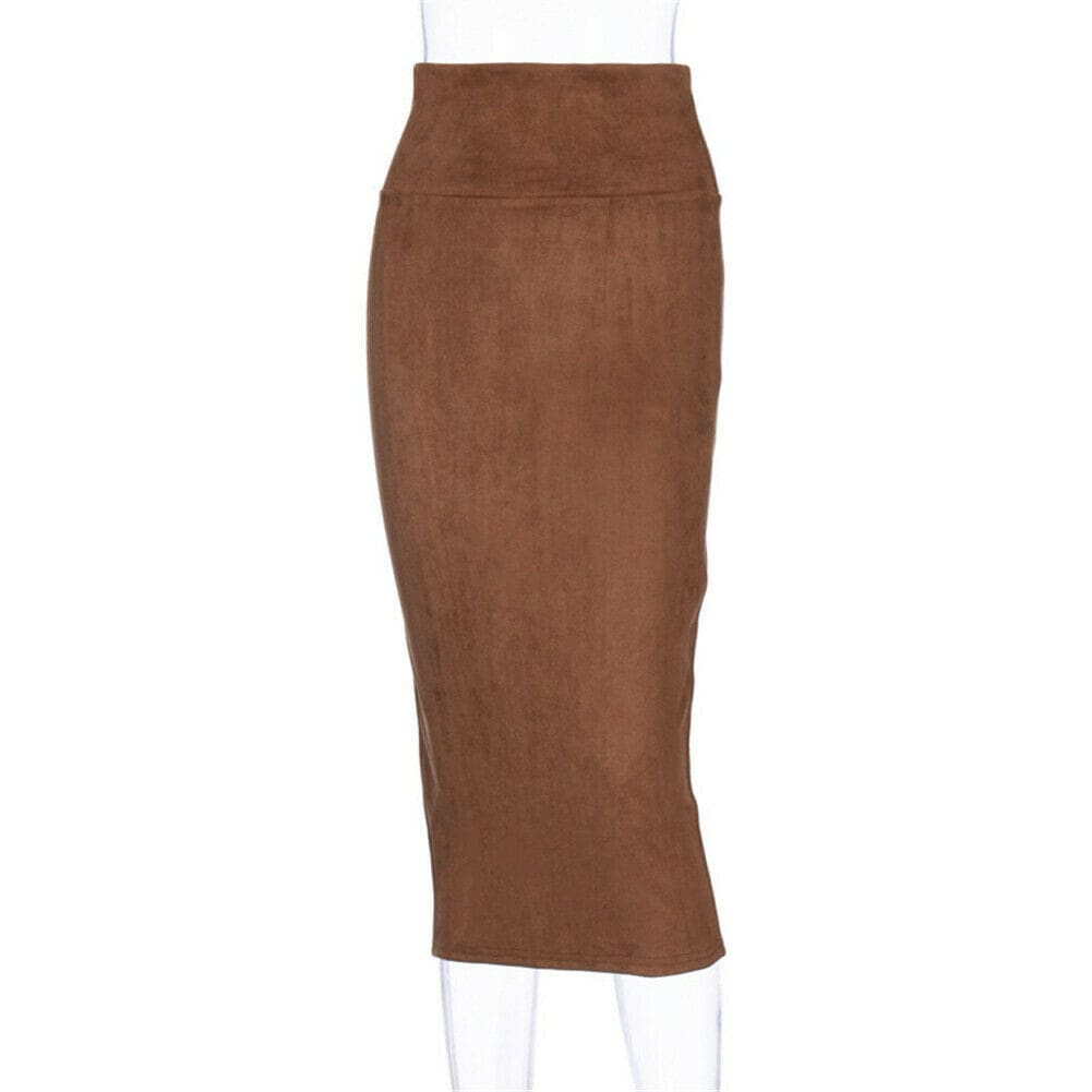 Women Plain Jersey Bodycon Slim High Waist Pencil Skirt Ladies Stretch OL Work Midi Skirt