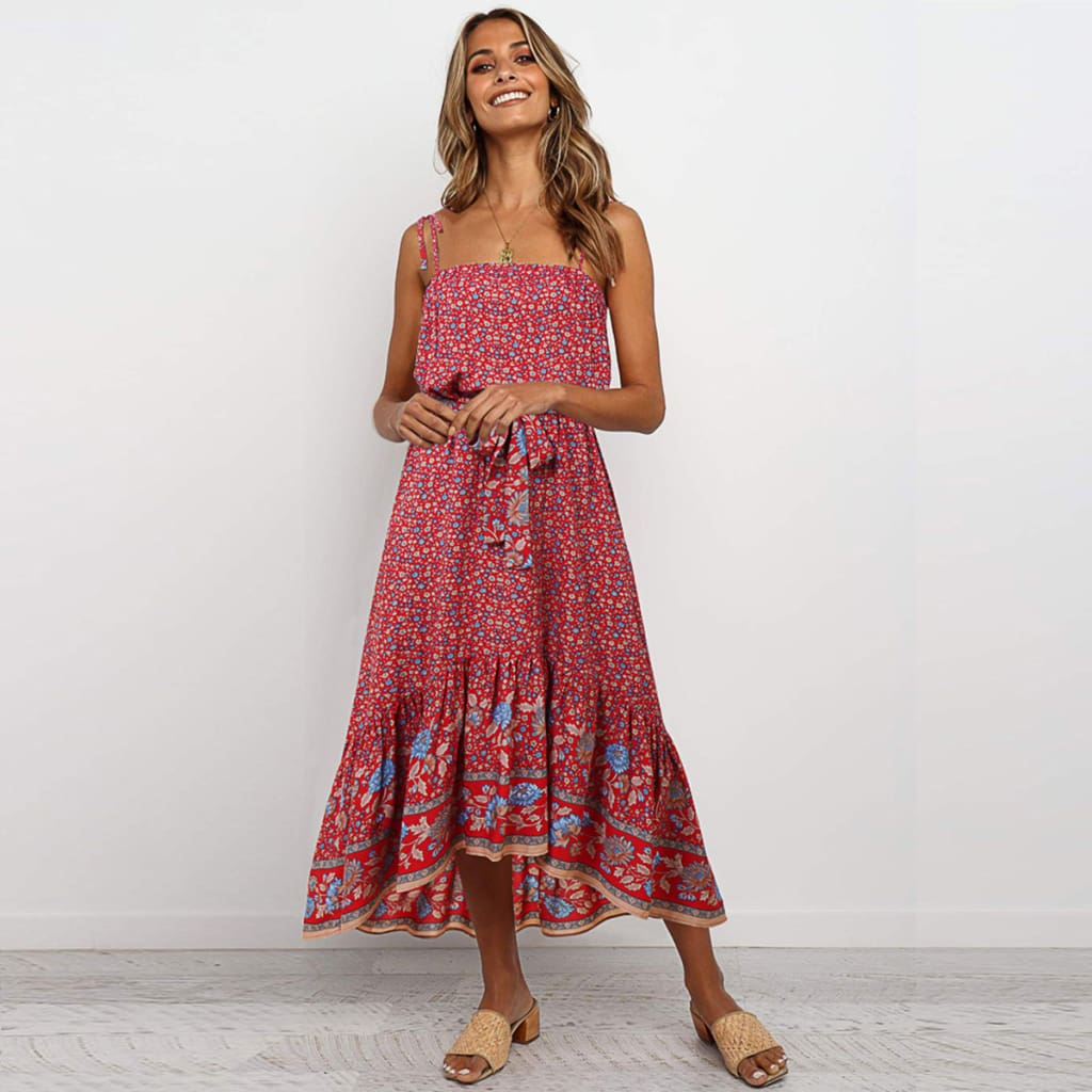 Boho Floral Casual Long Maxi Dress Evening Party Cocktail Beach Holiday Sundress