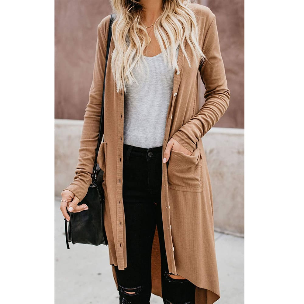 Women Ladies Long Sleeve Knitted Cardigan Sweater Casual Button Pocket Front Loose Jumper Coat