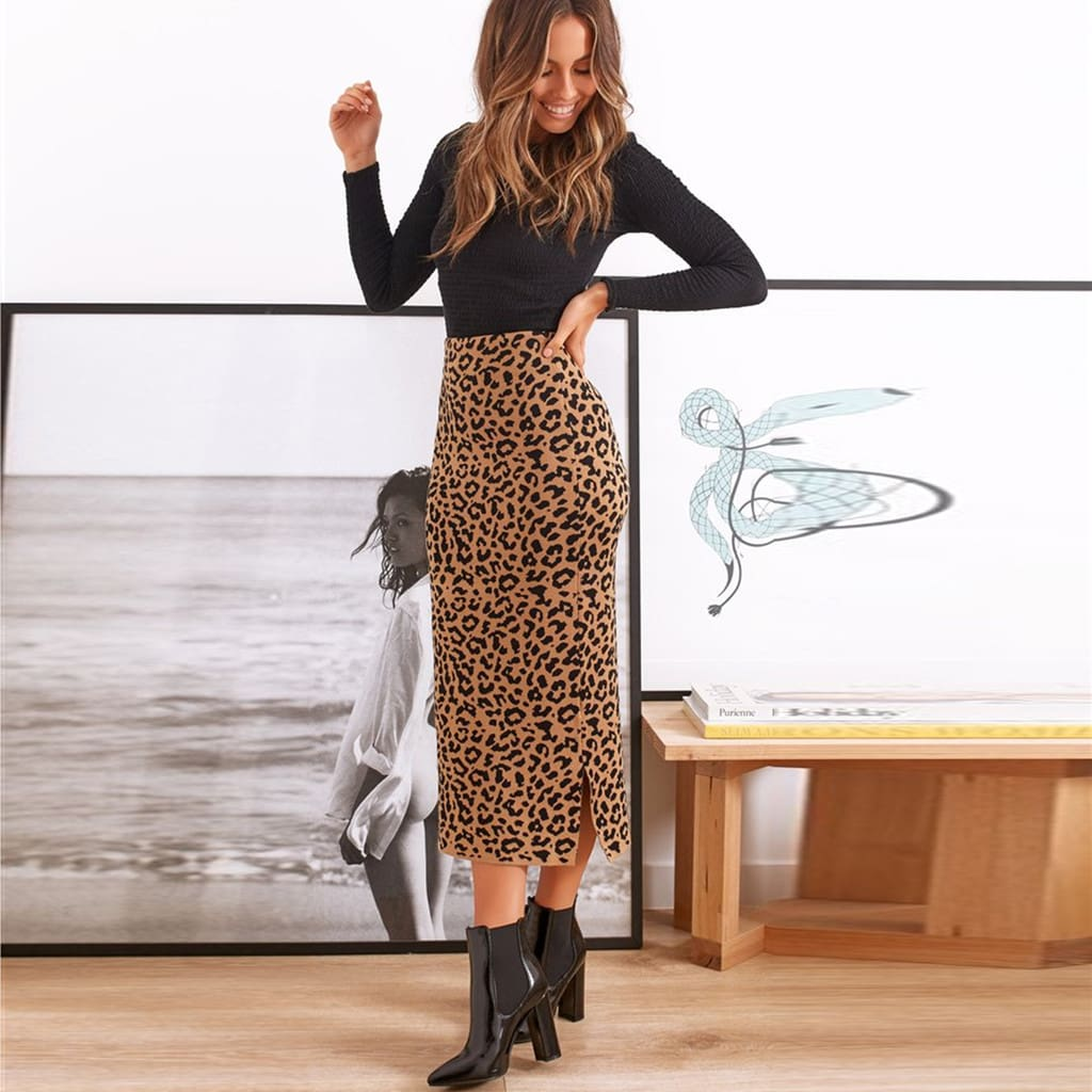 2019 Women Casual Leopard High Waist Long Skirt Ruffle Print Skirts
